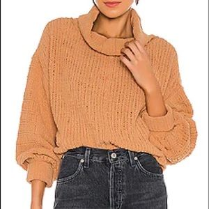 Free People Be Yours cowl neck Pullover in Camel